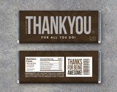 EMPLOYEE APPRECIATION GIFT – Printable Thank You Candy Bar Wrappers Instant Download – Co-worker Employee Appreciation Day Thank You Gift #employeeappreciationideas