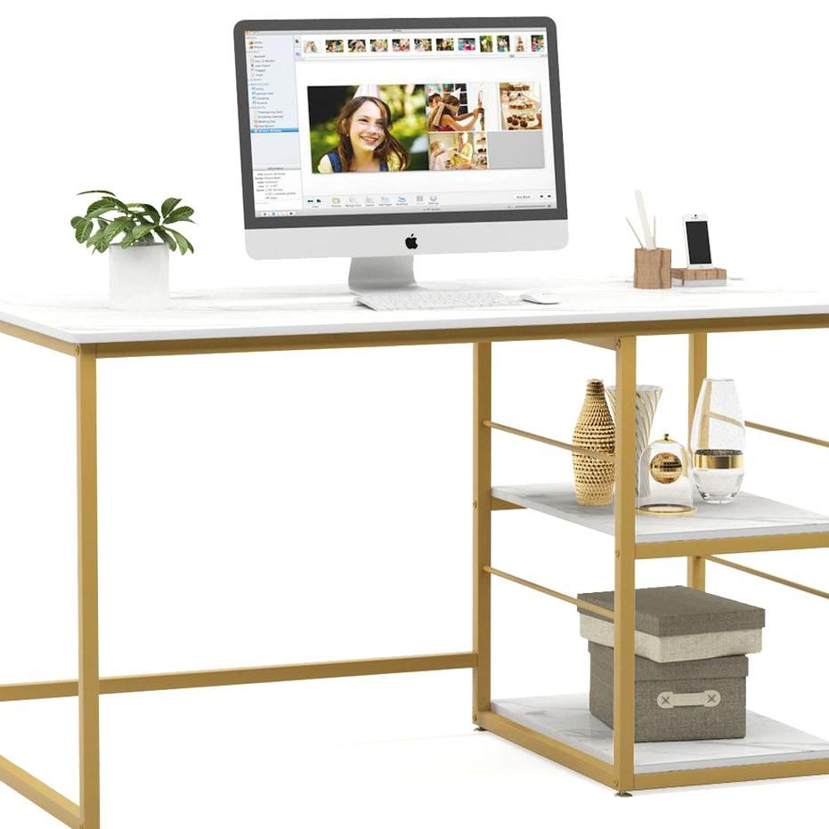 Free 2 Day Shipping Buy Tribesigns 47 Inches Computer Desk With 2 Tier Storage Shelves Faux Marbl In 2020 Modern Home Office Desk Modern Office Desk Chic Computer Desk