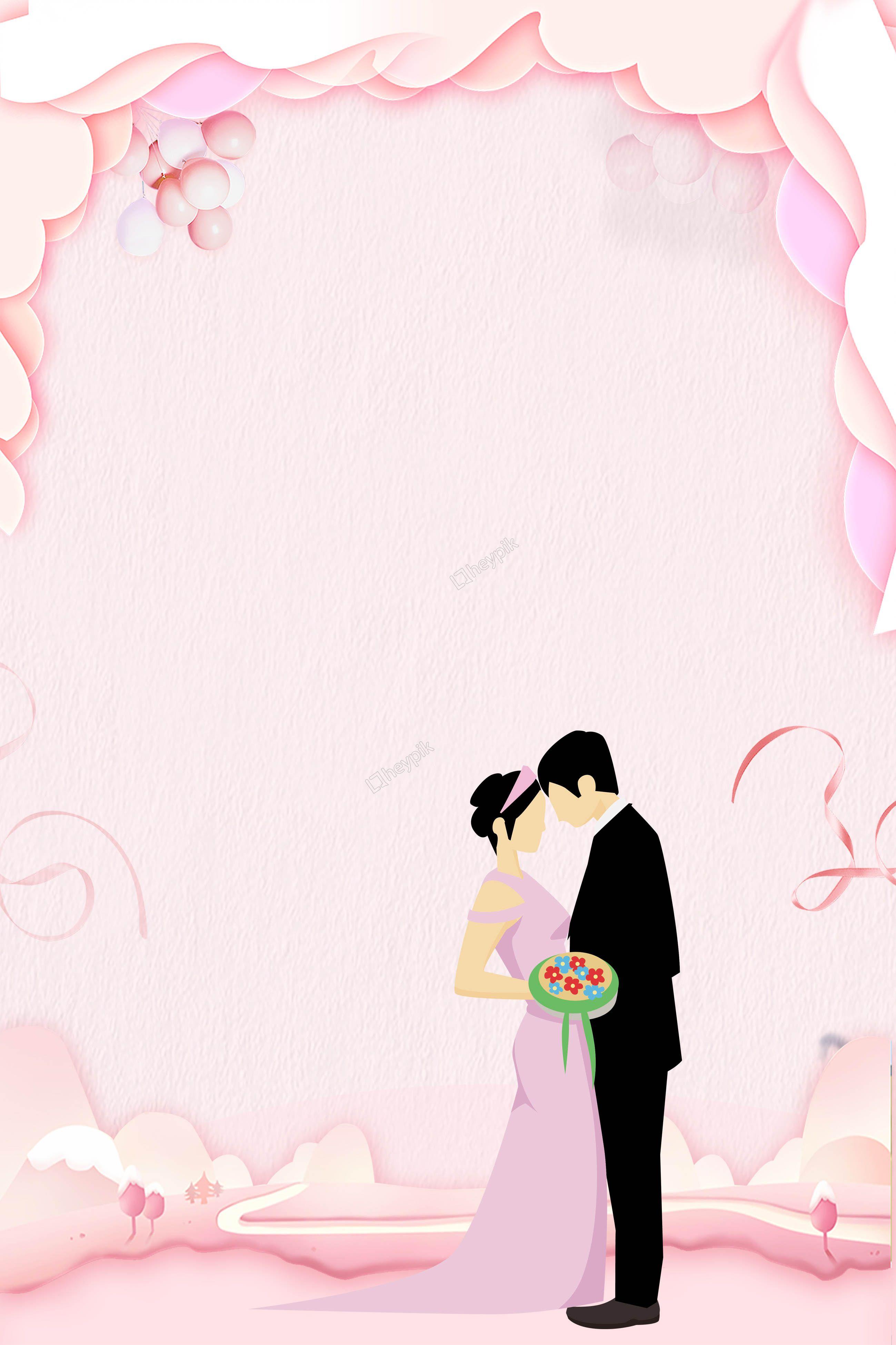 Hand Drawn Cartoon Wedding Invitation H5 Background Free