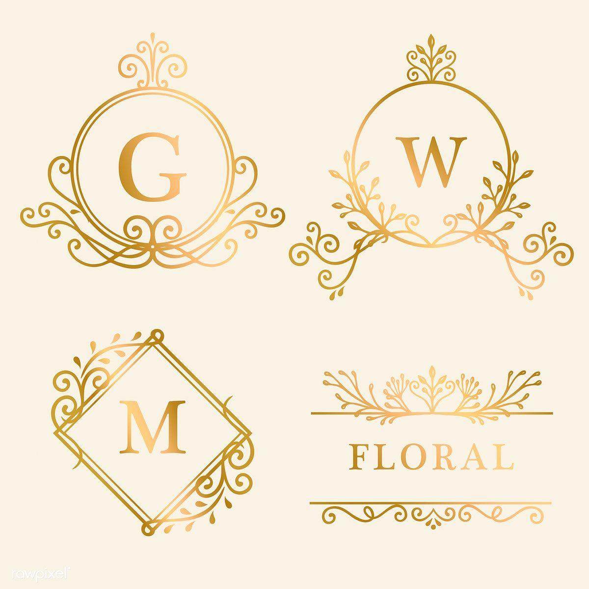 Set Of Golden Framed Vintage Logo Vector Free Image By Rawpixel Com Filmful Frame Logo Vector Free Vintage Logo