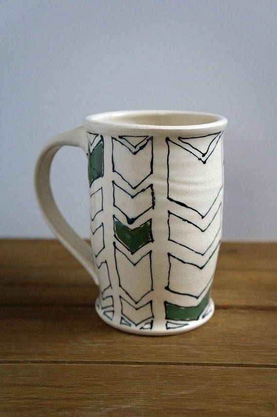 Large Chevron Pottery Mug Ceramic Coffee Handmade Gift For Her