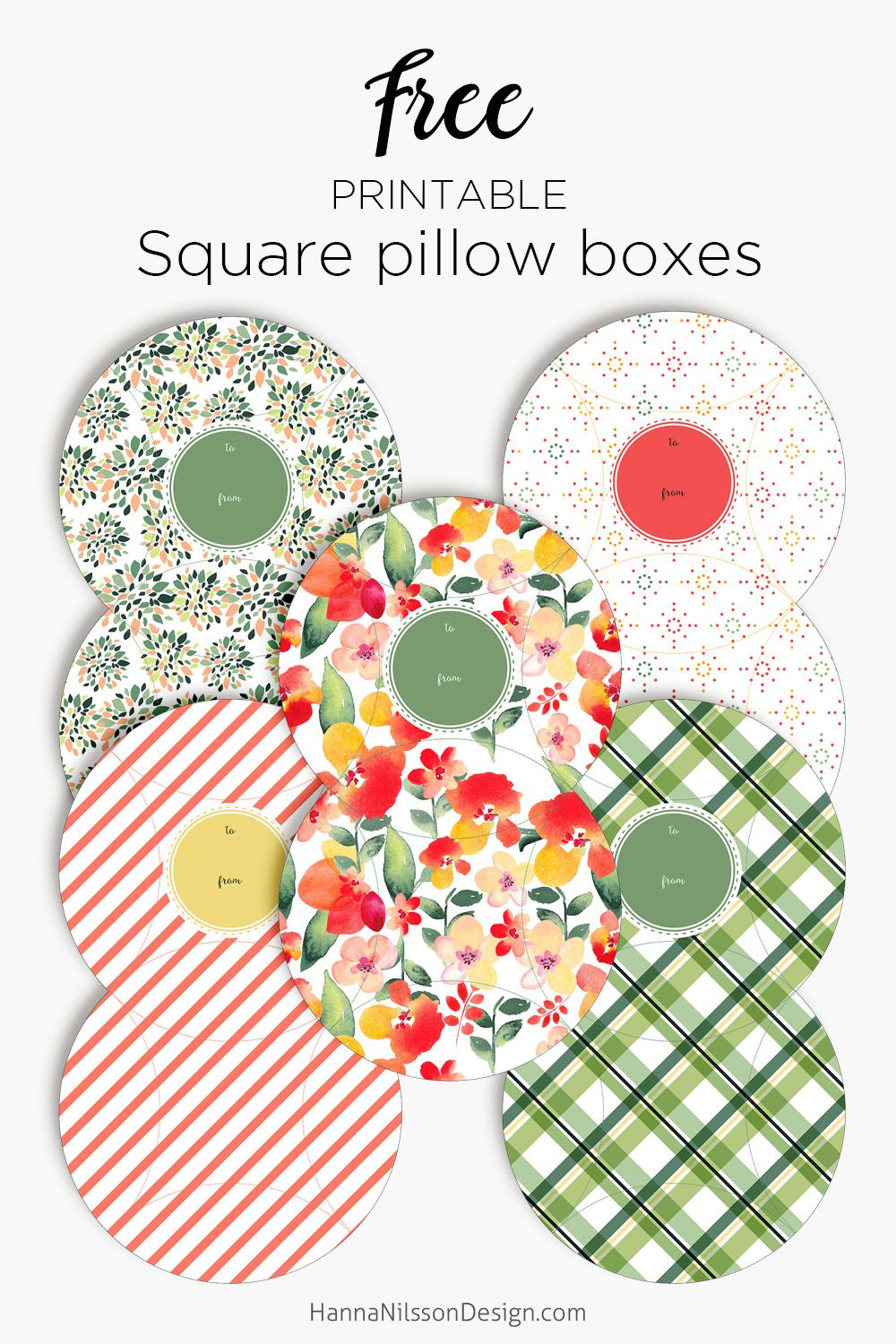 Patterned square pillow boxes printable gift boxes giftboxes