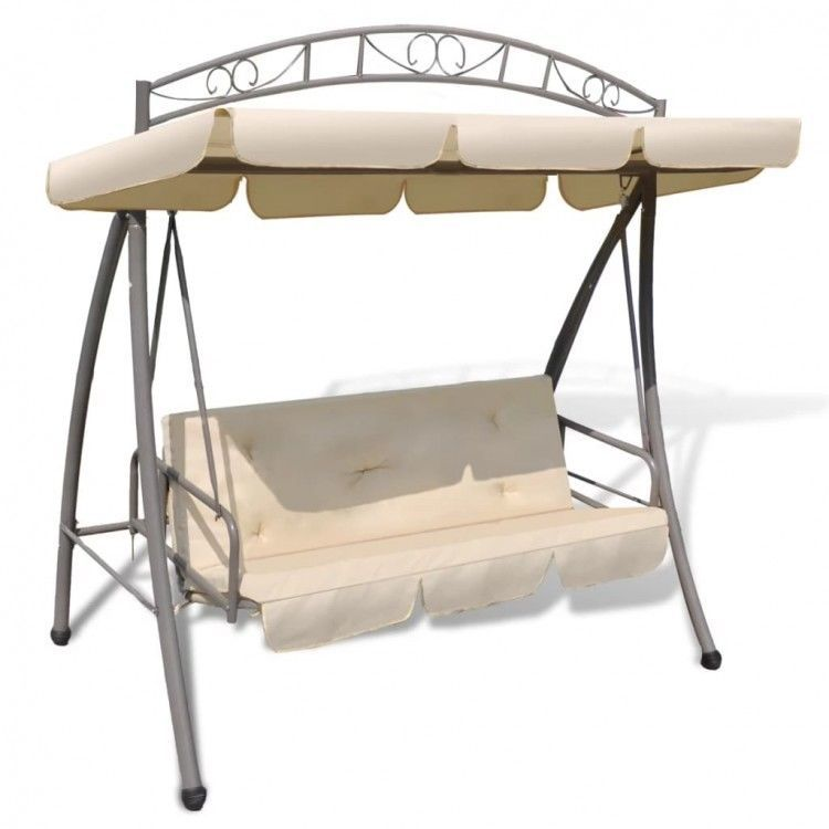 Details About Outdoor Swing Chair Canopy Sand White Patio Hanging Benches Back Cushion Seats Swing Chair Outdoor Porch Swing Chair Swinging Chair