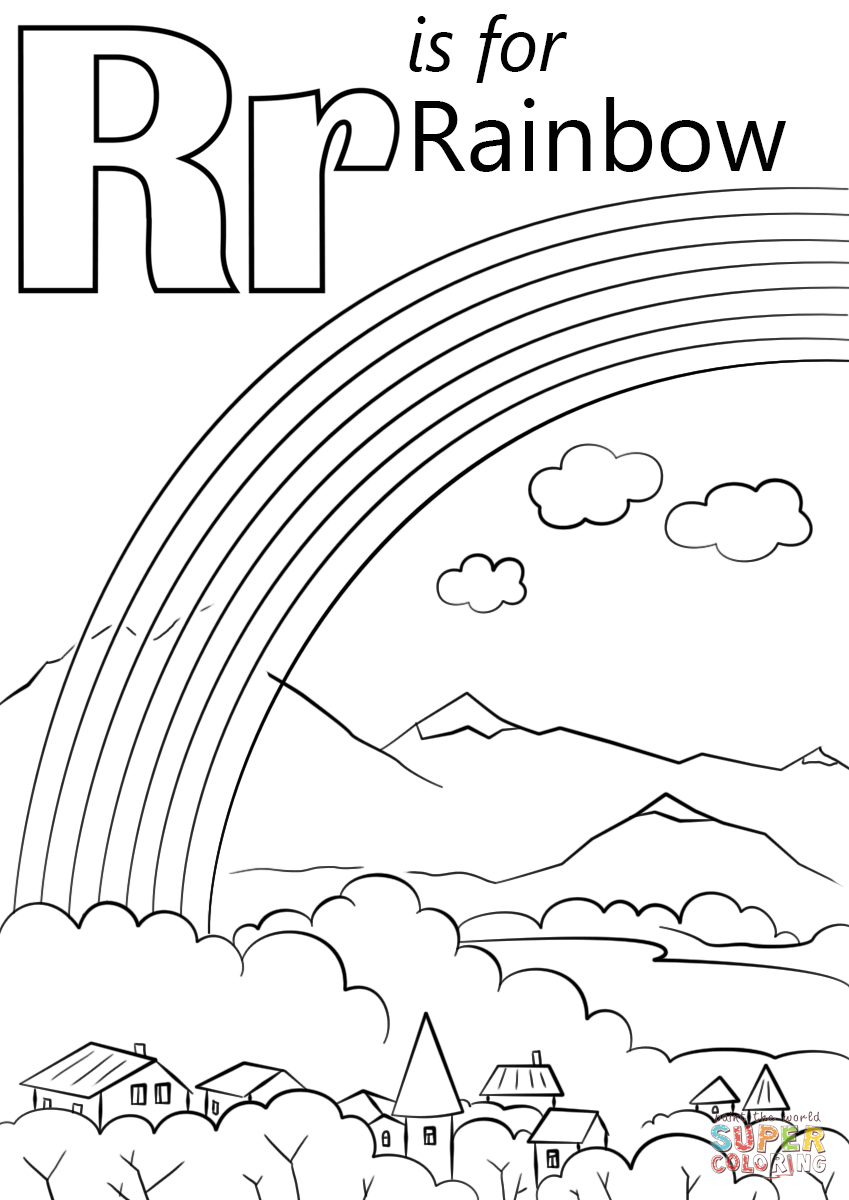 Letter R is for Rainbow Super Coloring Abc coloring pages