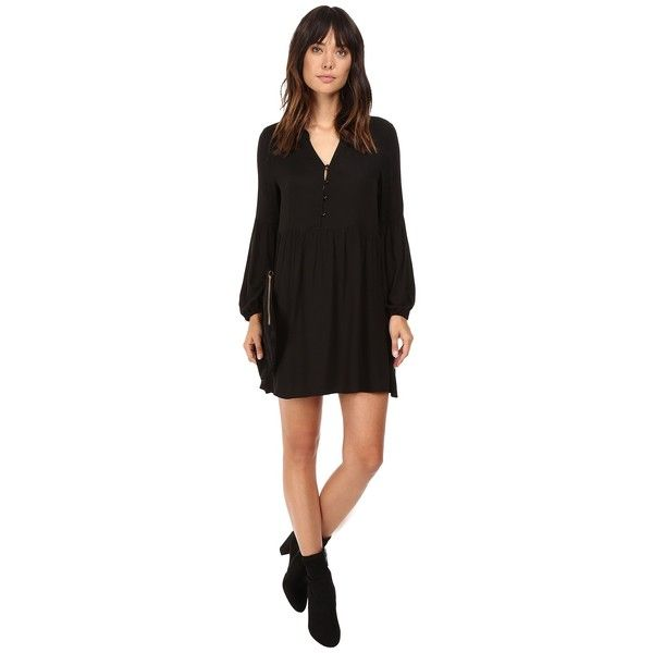 Jack by BB Dakota Jerrilyn Rayon Crepe Long Sleeve Dress (Black)... ($46) ❤ liked on Polyvore featuring dresses, long sleeve print dress, long dresses, patterned shift dress, crepe dress and shift dresses