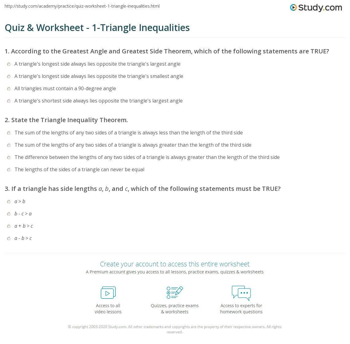 Triangle Inequality Theorem Worksheet Triangle Inequality Theorems Worksheets