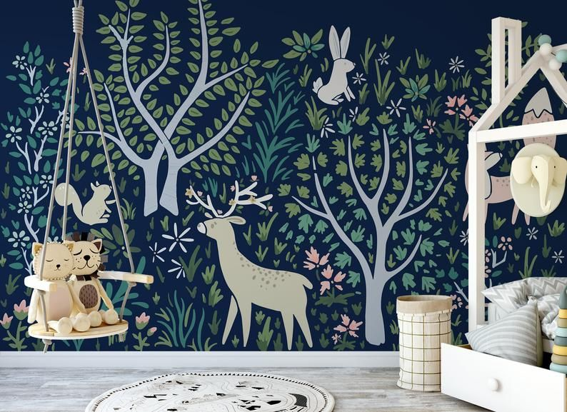 Woodland Forest Wall Mural In Navy Enchanted Animals Peel And Stick Wallpaper Wall Mural Nature Temporary Wallpaper 519 In 2020 Forest Wall Mural Wall Murals Nursery Wall Murals