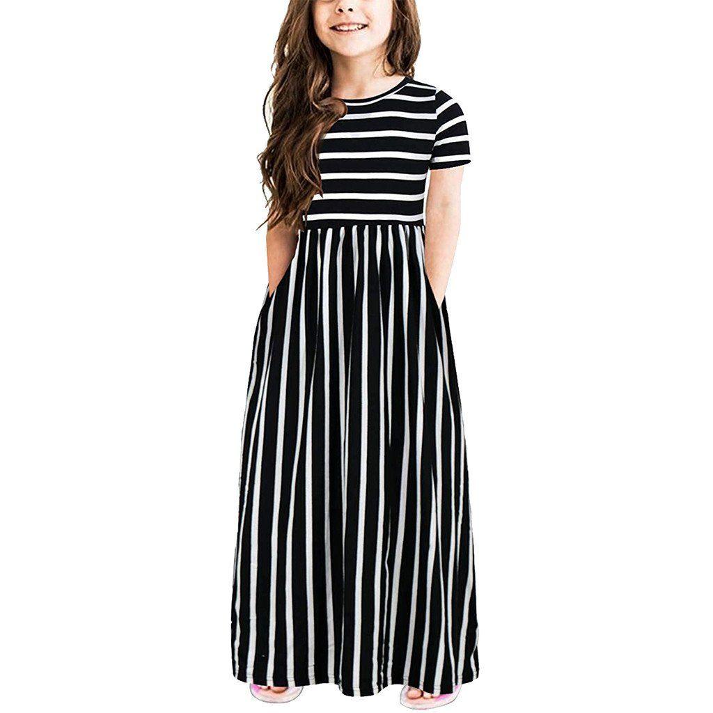 Girls Dress Children Clothes Kids black white striped short