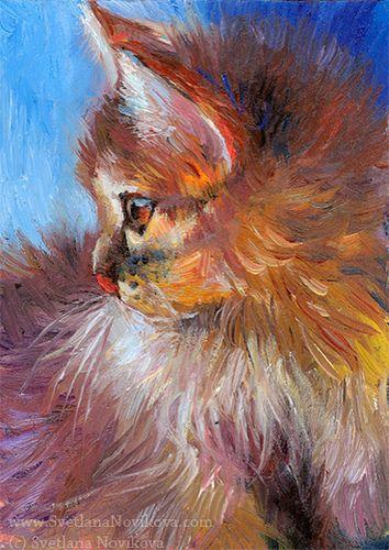 Un Chat A L Huile Peinture Chat Art A Theme Chien Et