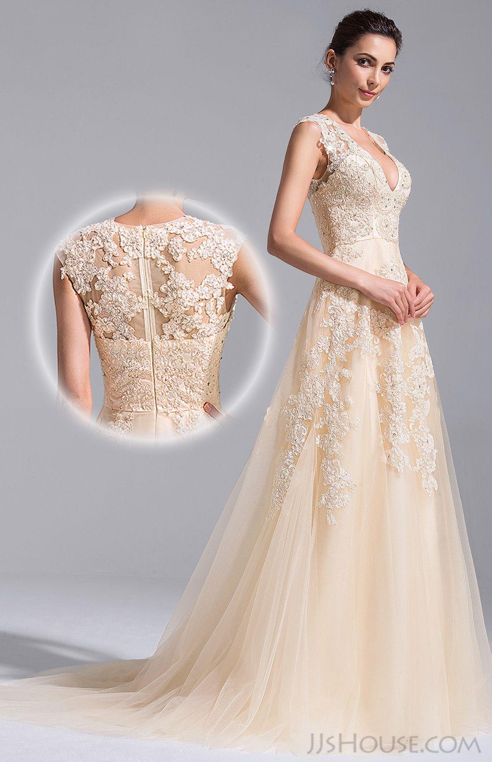 Alineprincess vneck court train tulle wedding dress with beading
