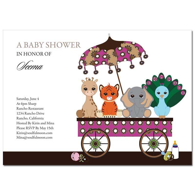 Indian Baby Shower Invitations Animal Wagon Maternity Pinterest