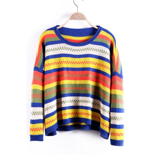 Blue And Yellow Chevron Contrast Stripes Oversized Sweater 30
