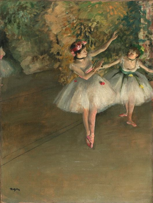 Two Dancers on a Stage by Edgar Degas, 1874. degasexperts.com