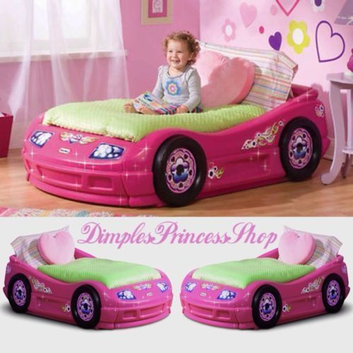 Girls Toddler Race Car Racecar Pink Princess Bed Bedroom