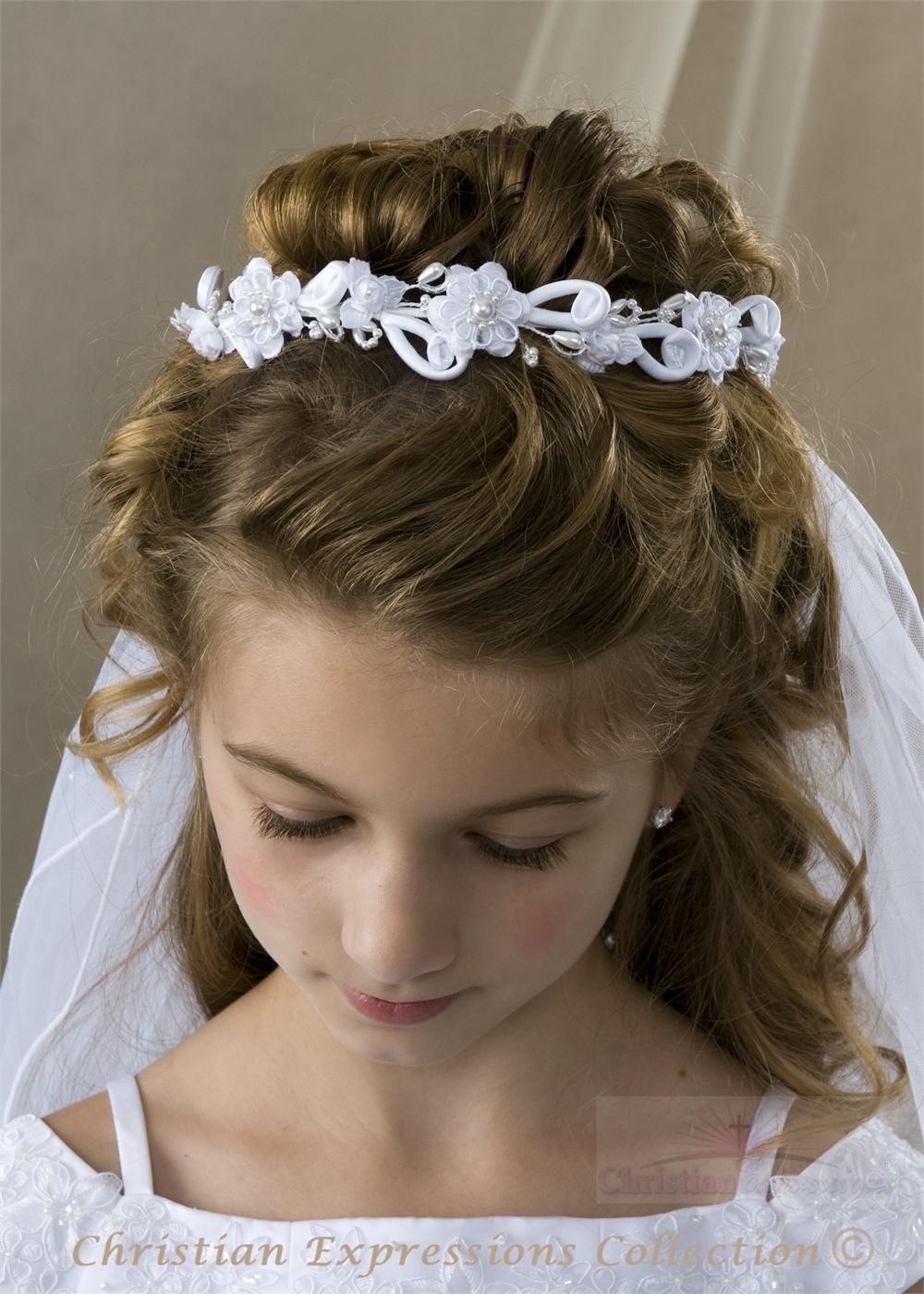 communion updos | hair style first communion hairstyles with tiara