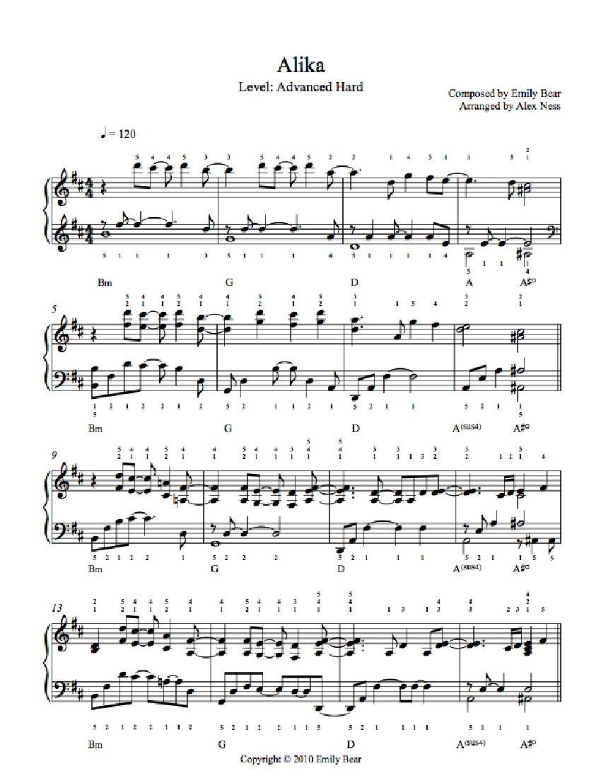 advanced piano sheet music pdf