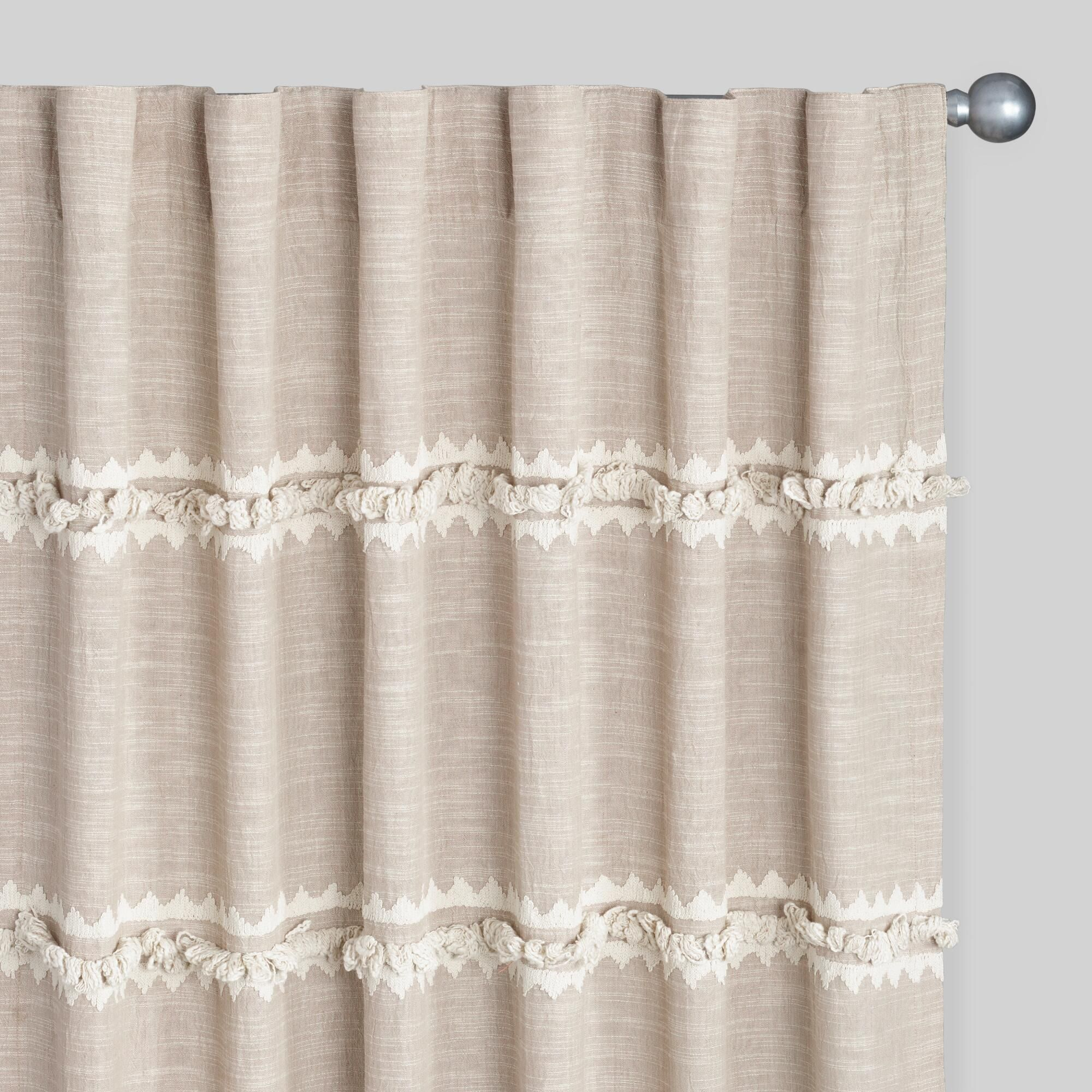 Tab Top Curtain Shag Stripe Embroidered Concealed Tab Top Curtains Set Of 2 Brown