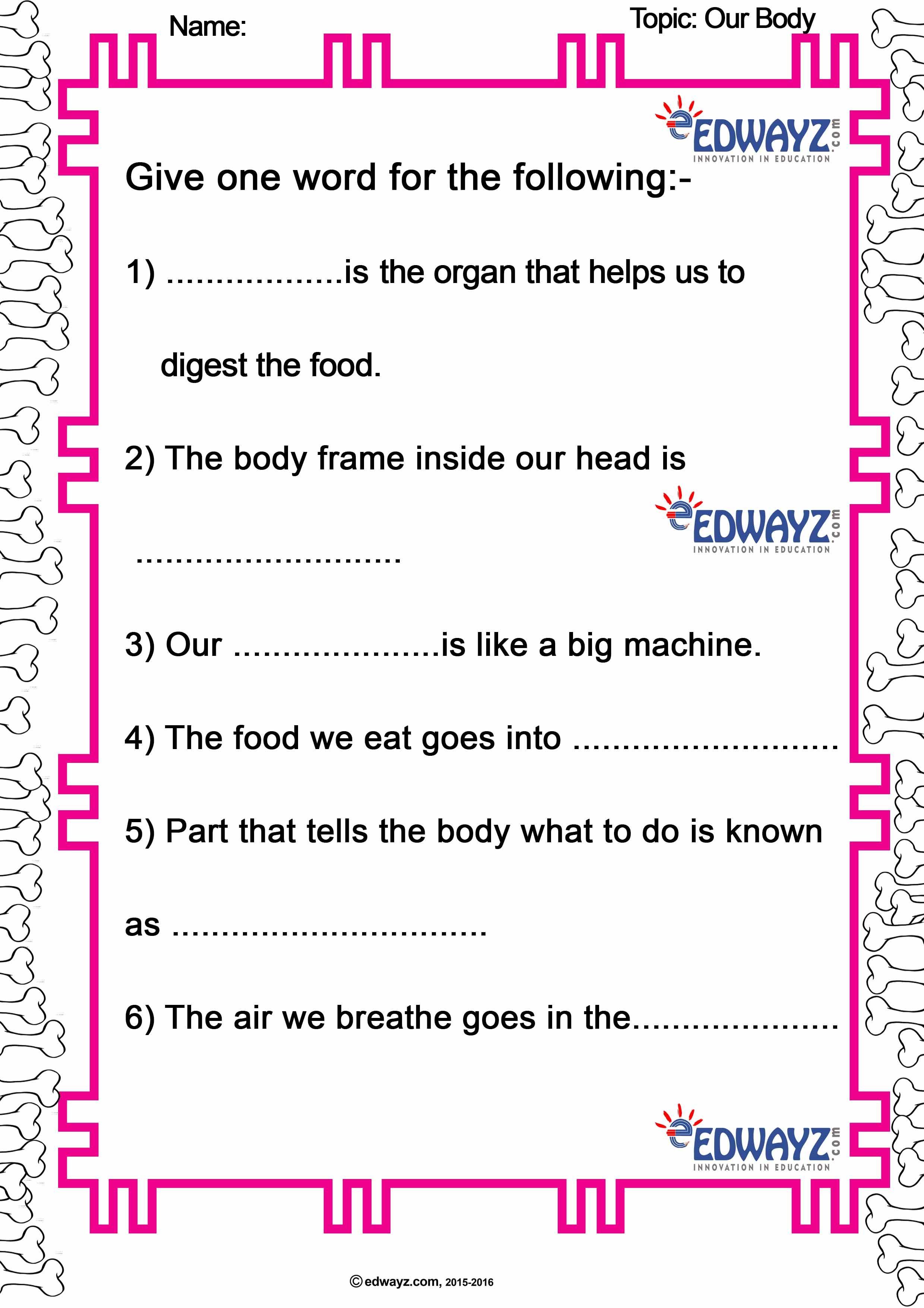 Edwayz_Class2_EVS_Our Body in 2020 | Science kindergarten ...