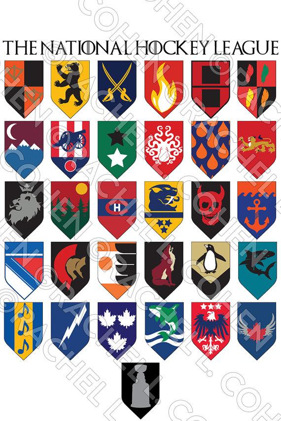 b3e5f0dc SALE NHL Hockey Game of Thrones Inspired Medieval Fantasy Sigil Poster 24x36
