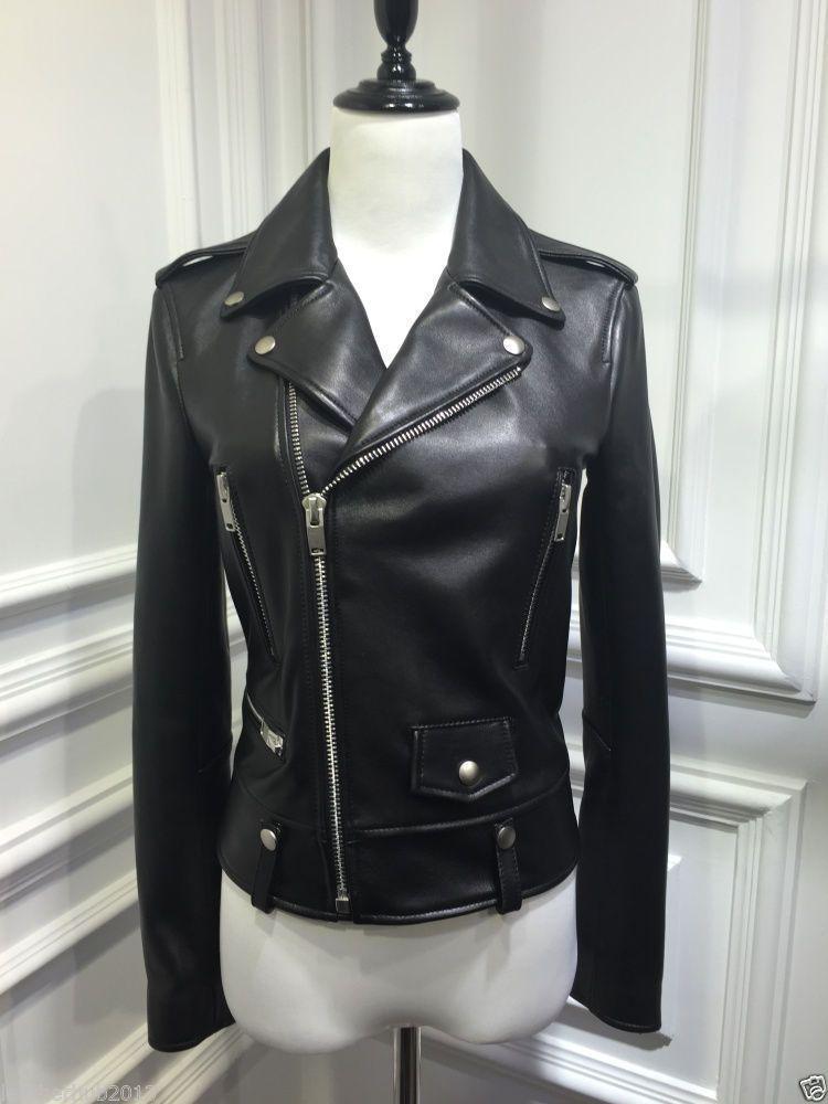 Women S Black Leather Motorcycle Biker Jacket Showstoppers