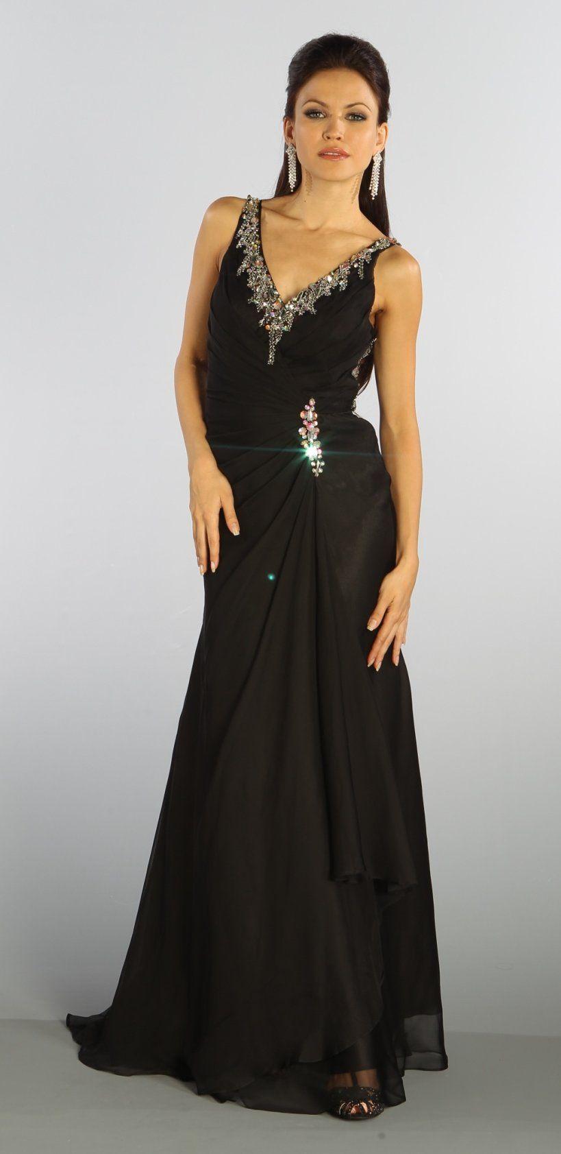 Black formal gown full length v neckline beaded illusion