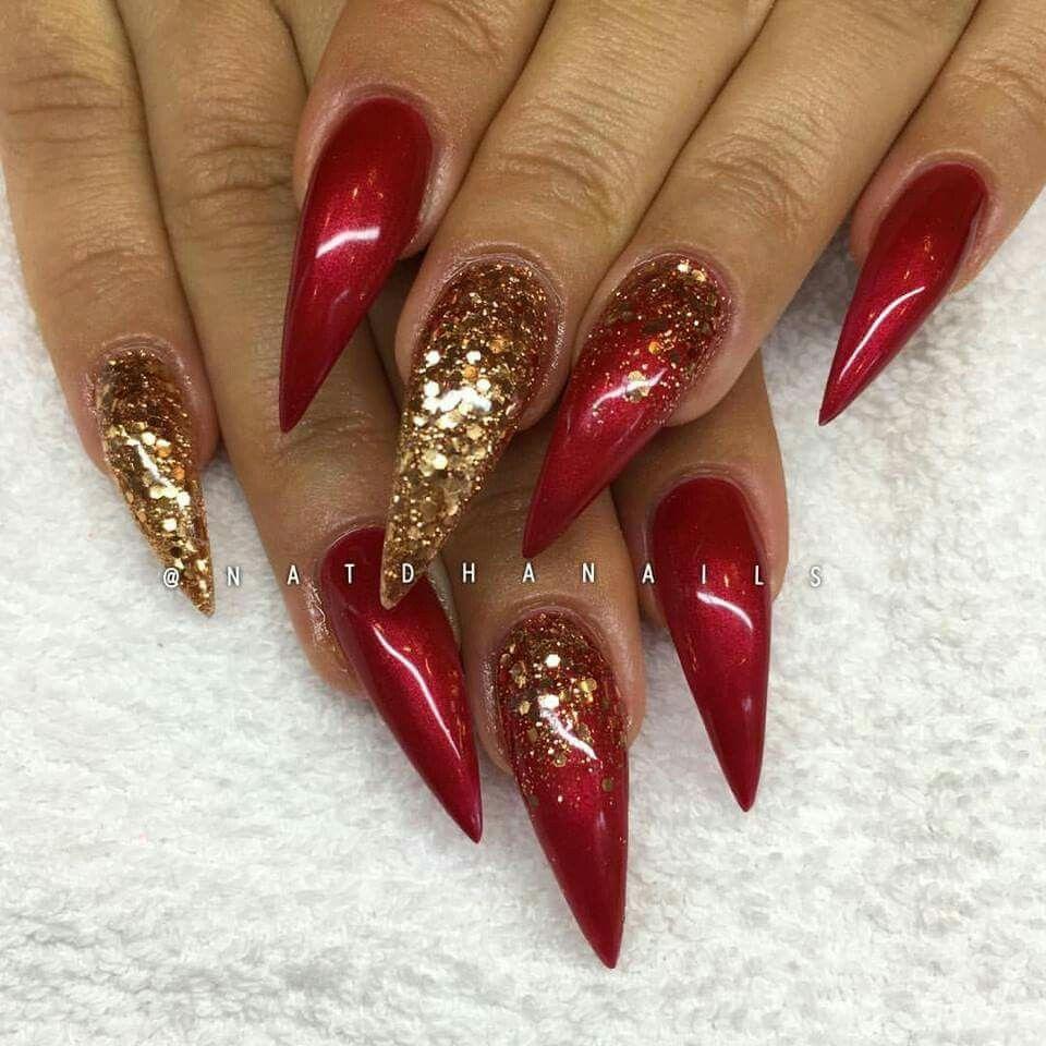Pinterest Iiiannaiii Gold Acrylic Nails Red And Gold