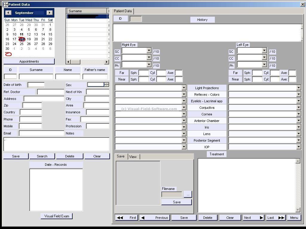 Visual Field Test Eye Chart Patient Database Oftalmo Pinterest