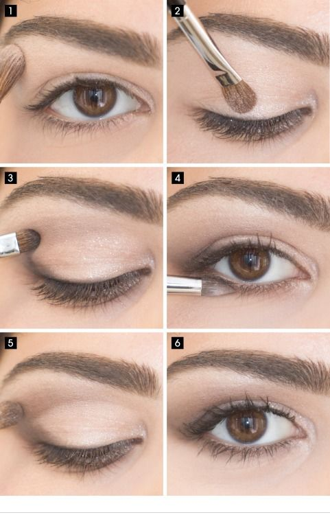 Apply Pink Beige under your brow bone and to inner corner 2. press Glittery Beige on the inner corner and center of your eye. 3. Press Deep Brown onto outer ...