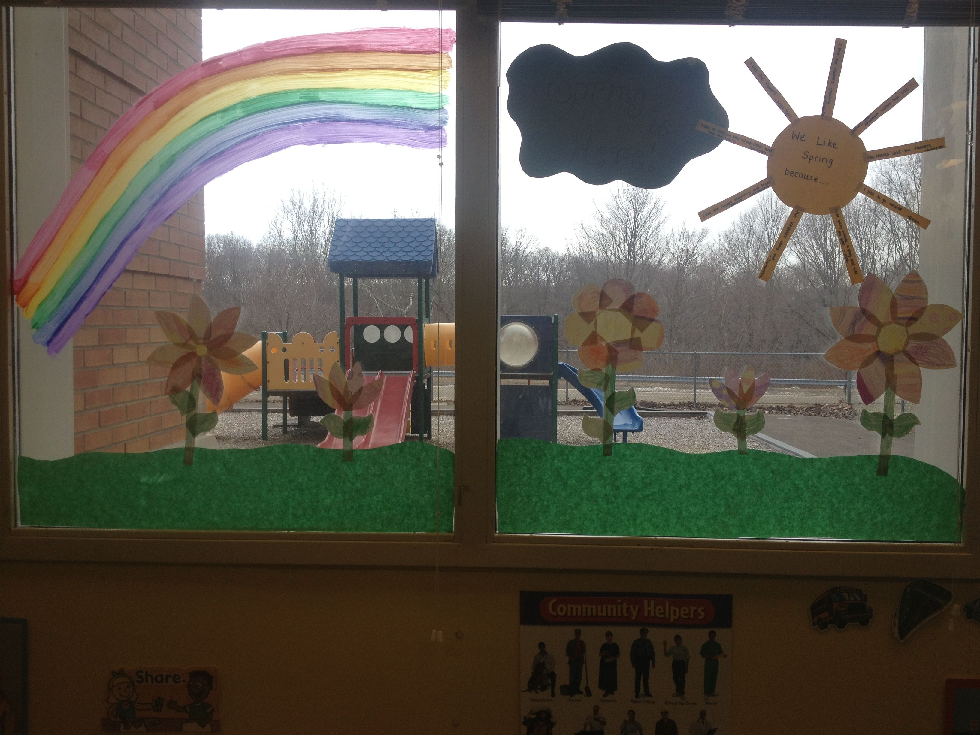 Classroom Decoration Window ~ Spring window decoration kids projects pinterest