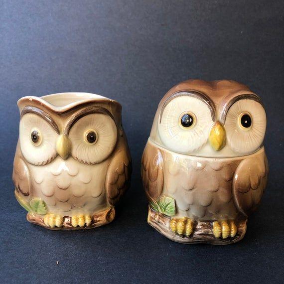 Otagiri Owl Creamer and Sugar Vintage Coffee Decor in 2020 ...