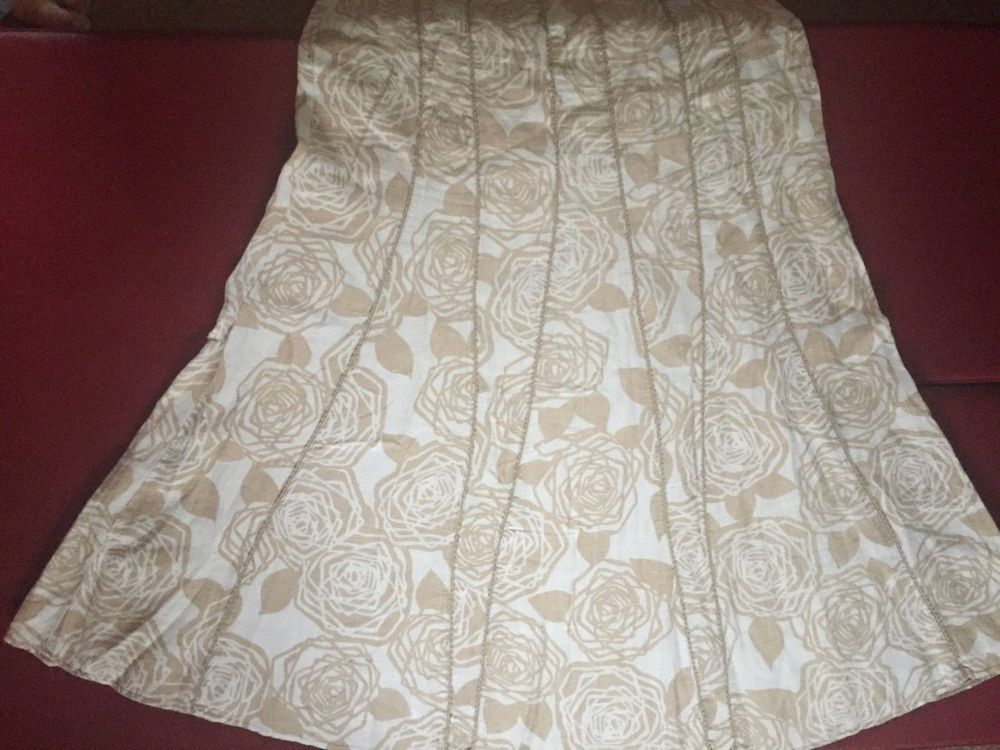 9241b2948a Size UK 14 Per una beige & cream floral linen piped panel a-line skirt