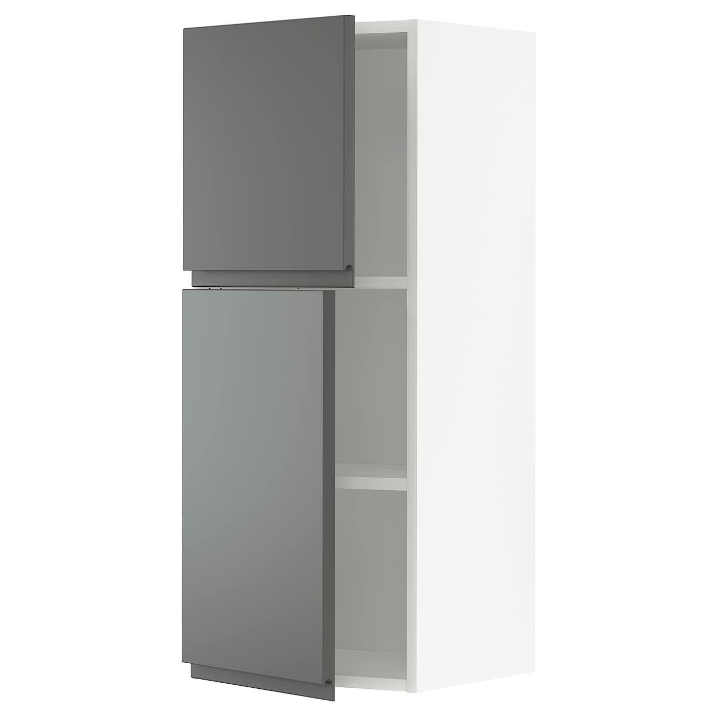 METOD Wandschrank mit Böden und 2 Türen – weiß/Voxtorp dunke…
