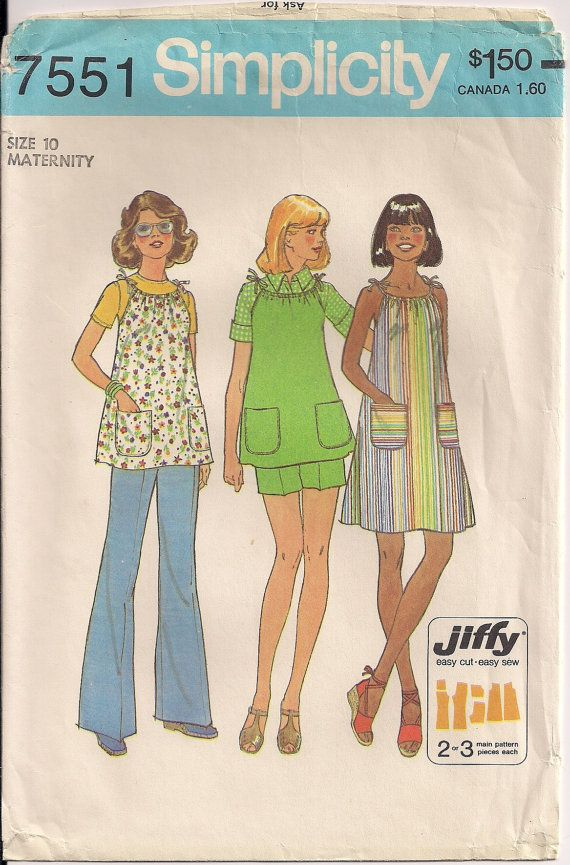 1976 Simplicity 7551 Factory Folded Maternity Jiffy by Pinkalink