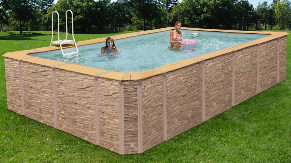 Piscine habillage d cor pierre avec images habillage Habillage piscine hors sol