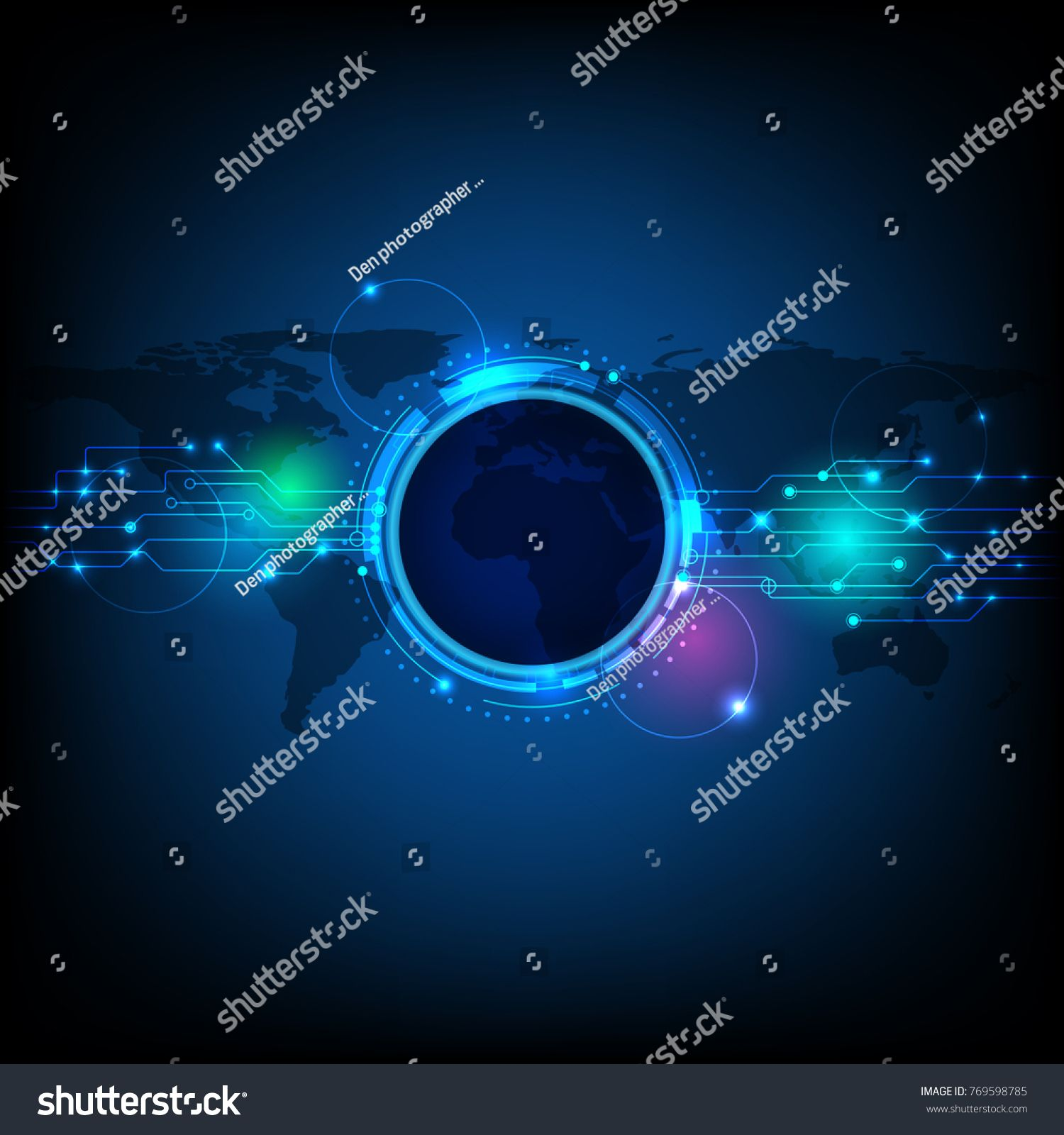 Abstract Futuristic Eyeball On Circuit Board Hi Tech Computer Technology With World Map And Blue Color Back In 2020 Computer Technology Vector Illustration Vector Art