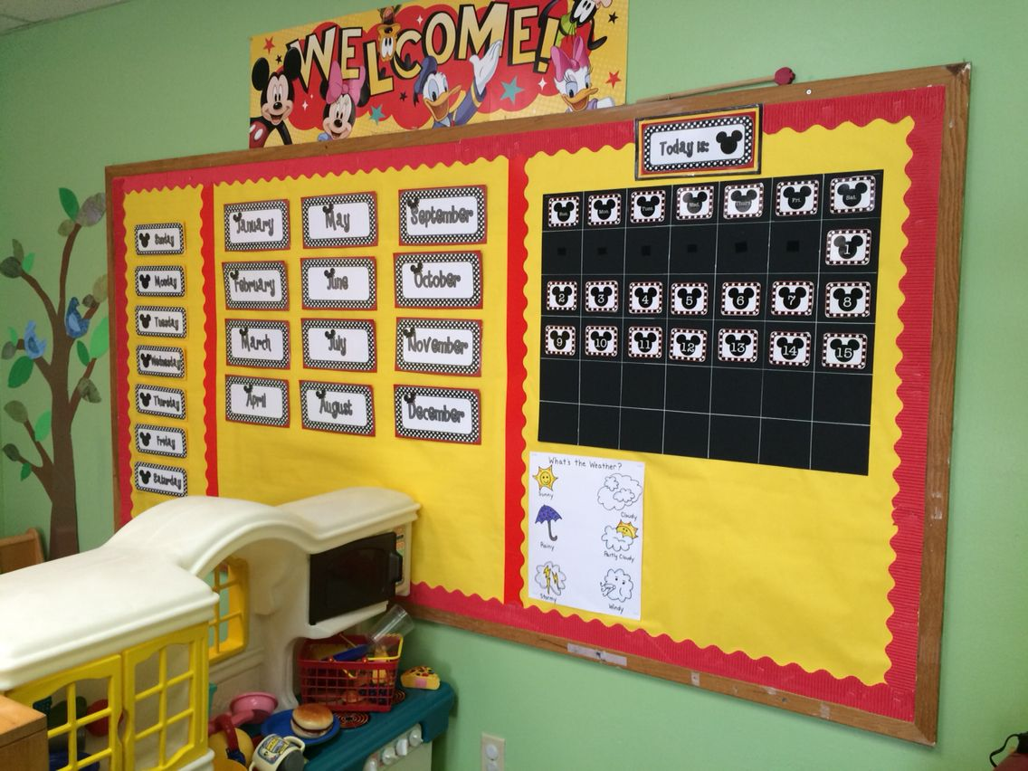 Mickey mouse inspired preschool room. Mickey Mouse calendar. | My ...