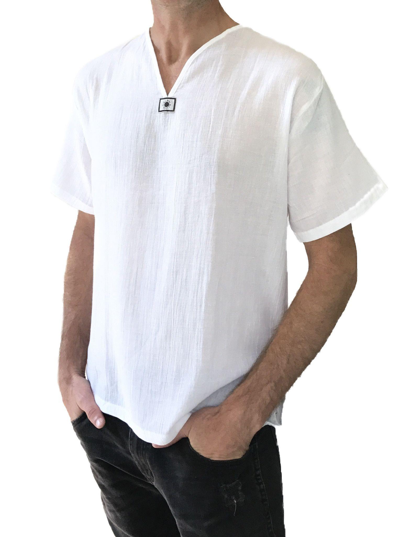 Men/'s Casual 3//4 Sleeve Collarless T Shirts Summer Pocket Beach Cool Tops Blouse
