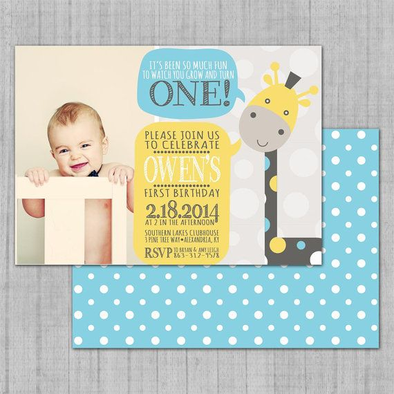 Printable Photo Birthday Invitation Baby Giraffe DIY Digital - Digital first birthday invitation