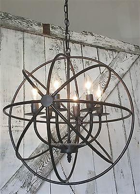 Industrial Round Chandelier Light Fixture Globe Metal Rustic Armillary Sphere Rustic Light