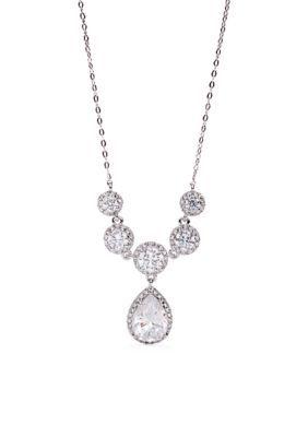 Nadri Silver Drop Frontal Necklace
