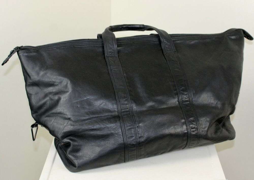 Black Leather Gym Bag Travel Overnight Duffel Zipper Closure Coke Cola Carry On