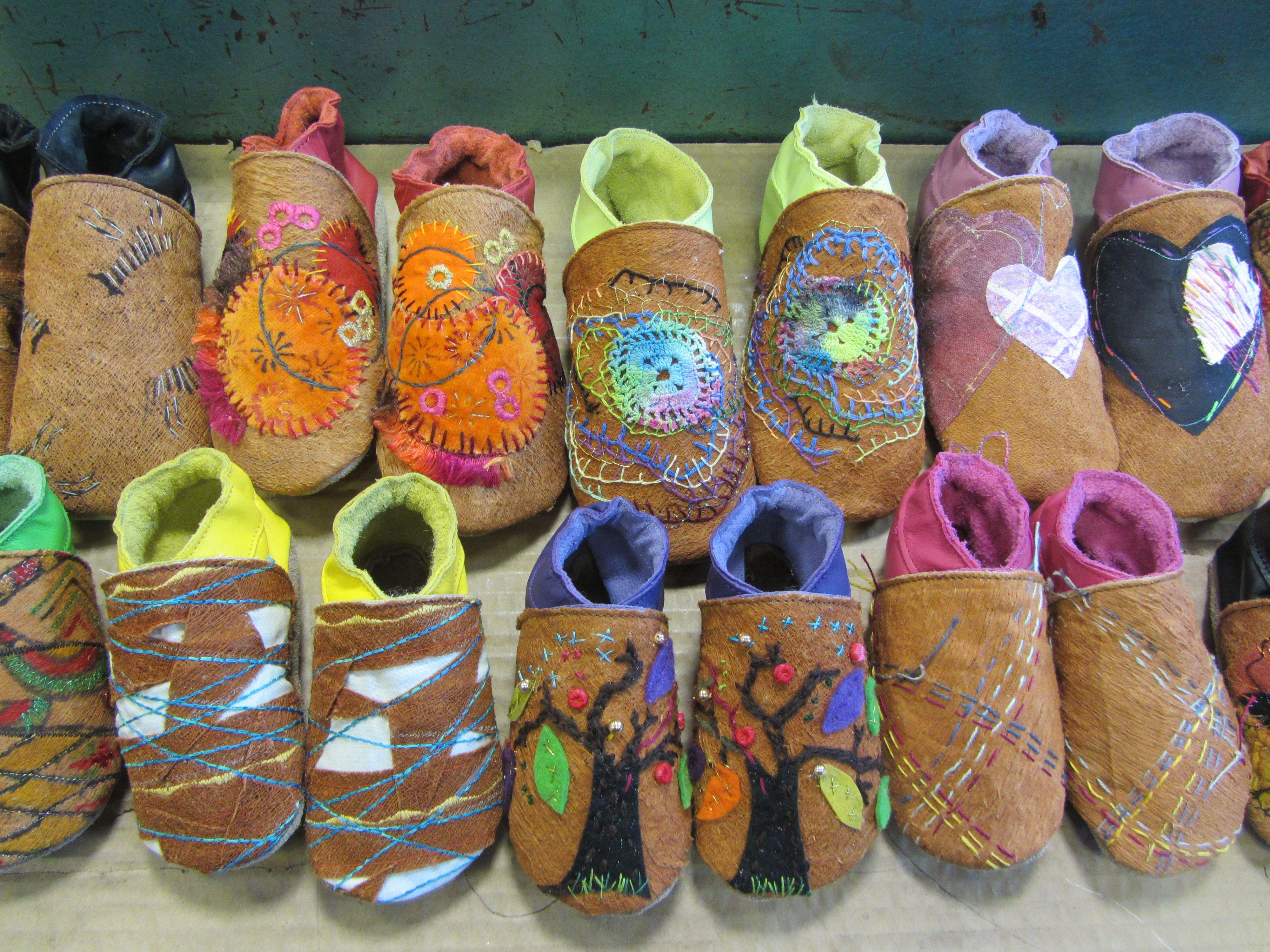 Barkcloth baby shoes www.starchildshoes.co.uk