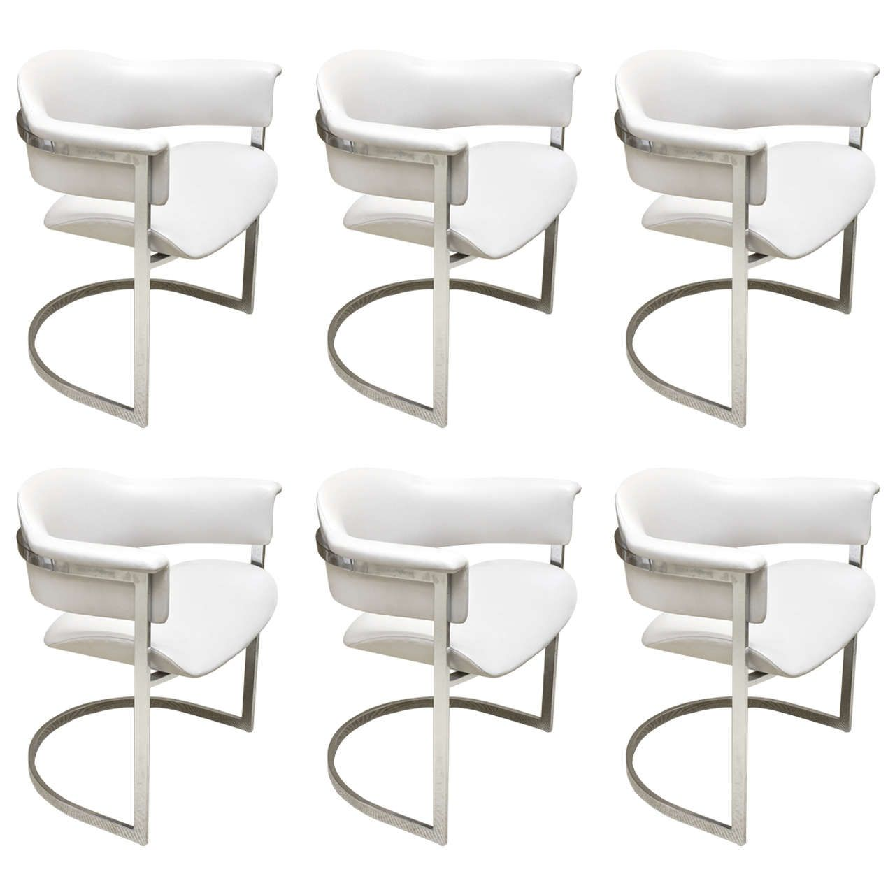 Set Of Six Vintage Grey Leather And Chrome Italian Dining Chairs
