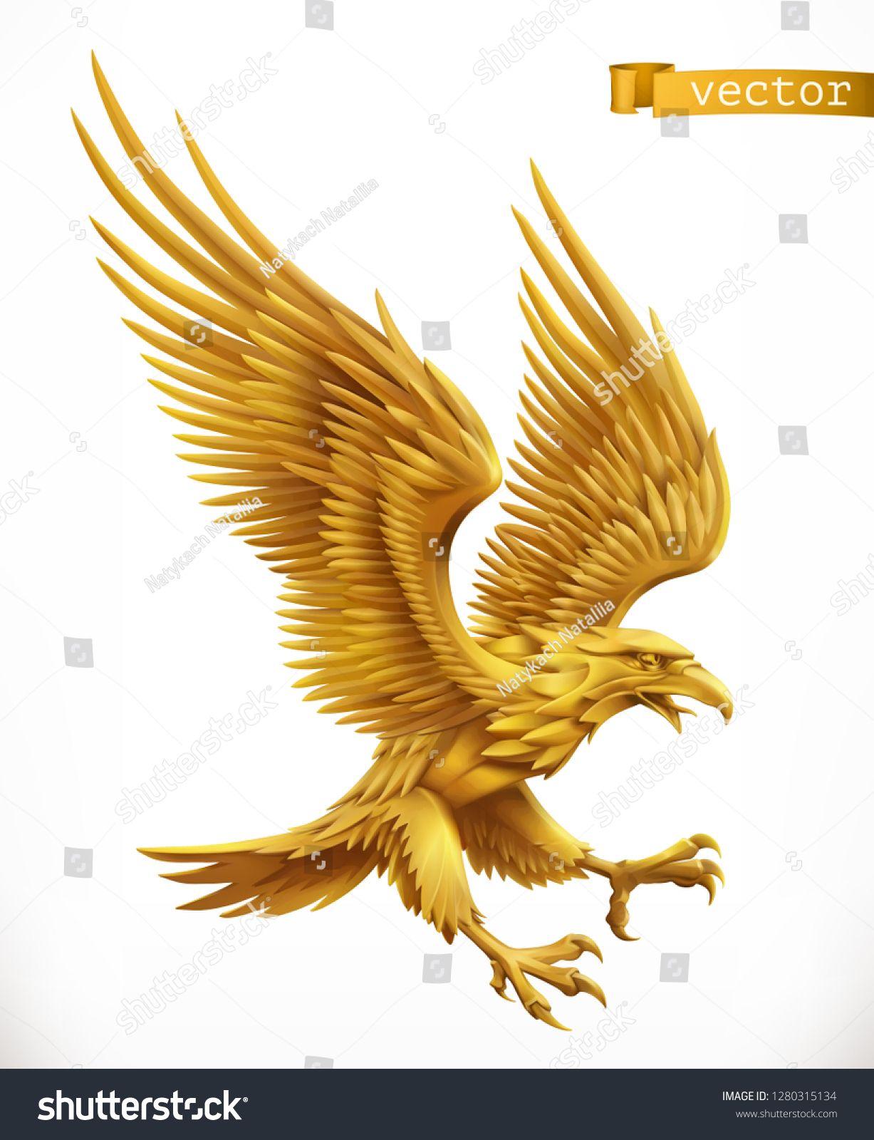 Eagle, gold emblem. 3d vector icon ...