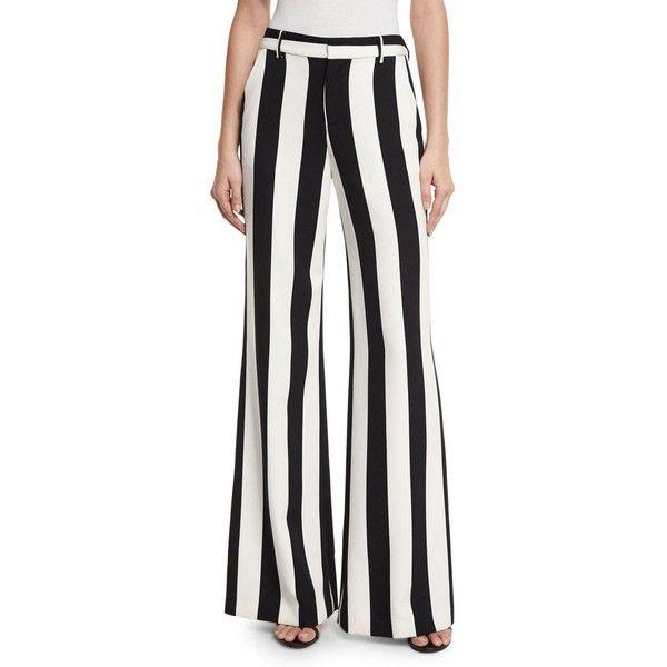 striped wide leg trousers - Black Alice & Olivia 763l5Inuy