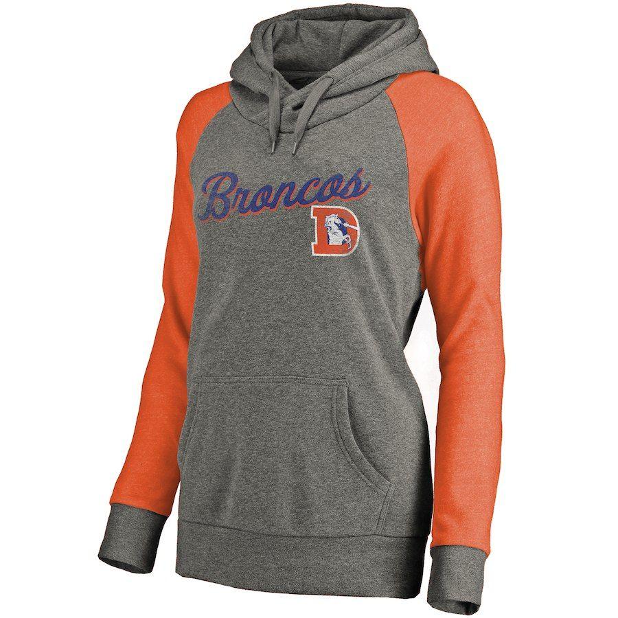 Women S Denver Broncos Nfl Pro Line By Fanatics Branded Ash Timeless Collection Rising Script Tri Blend Raglan Pullover Raglan Pullover Hoodies Pullover Hoodie