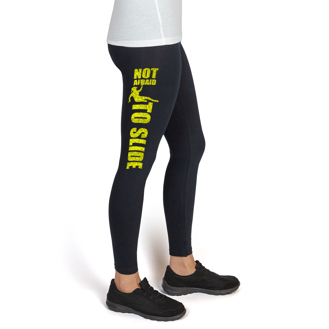 Softball Printed Leggings (Thigh) - Not Afraid To Slide