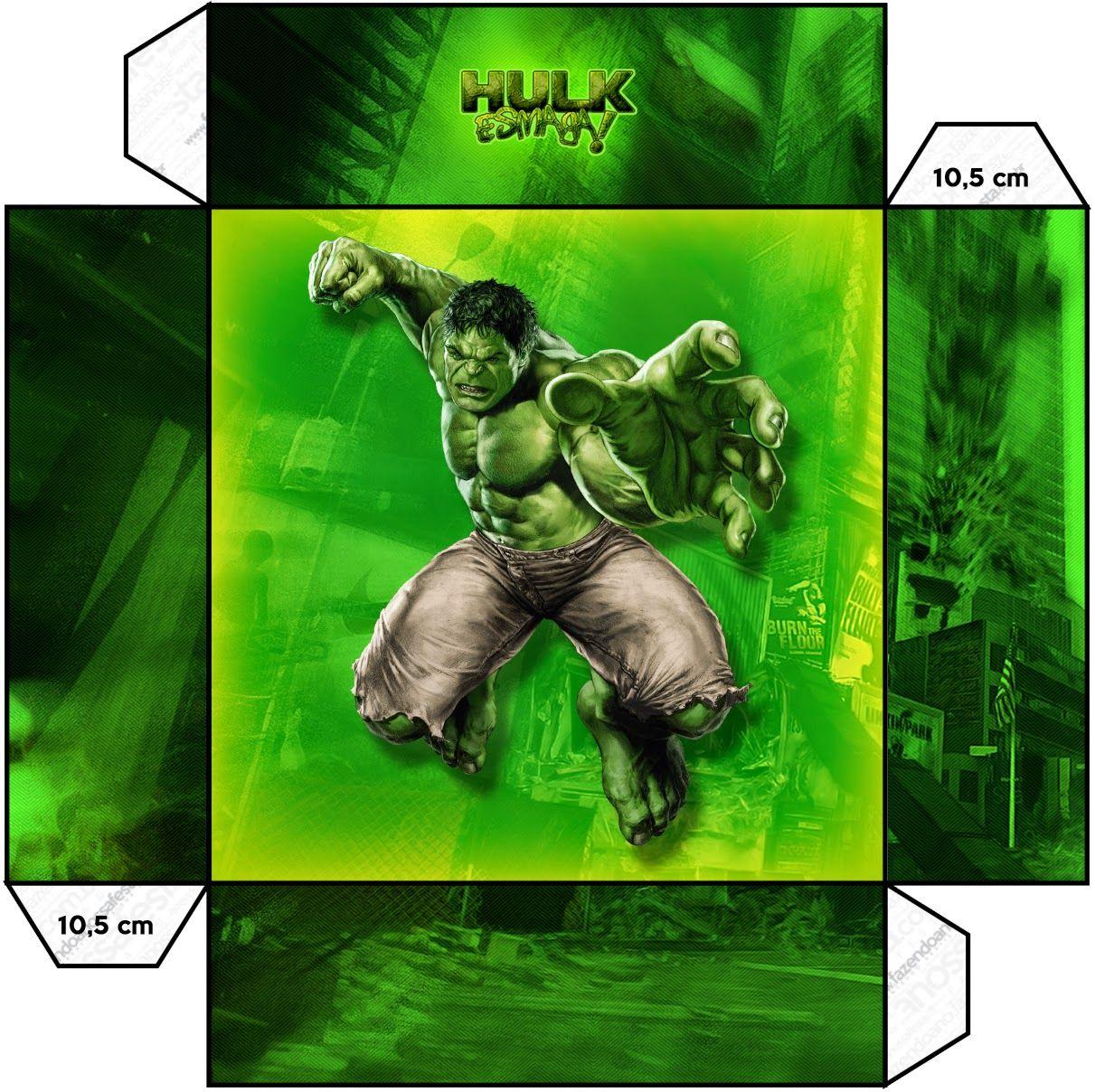 Hulk Cajas para Imprimir Gratis AVENGERS – Hulk Party Invitations