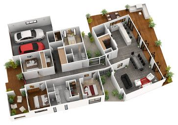 3d Floor Plans Modern Floor Plan Brisbane By Budde Design Free House Design Home Design Floor Plans Modern Floor Plans