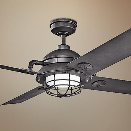65 Kichler Maor Led Distressed Black Ceiling Fan 7k334 Lamps